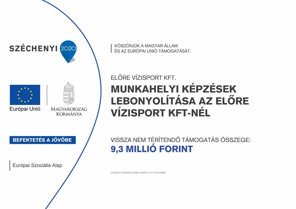 Munkahelyi képzések lebonyolítása az Előre Vízisport Kft-nél (GINOP-6.1.6-17-2018-00098)